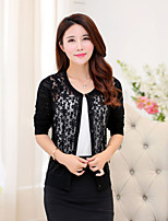YINGYIYANG® Women's Korean Round Collar Openwork See-Through Patchwork  Solid Color Fit Cardigan Knitwear