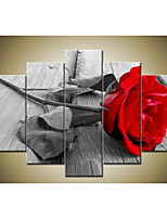 Hand-Painted Modern Abstract Beautiful Wall Art Grey Red Rose Oil Painting on Canvas 5pcs/set No Frame