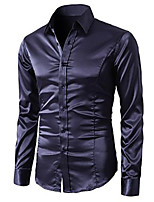 Men's Sexy/Fashion/Casual/Work/Formal/Plus Sizes Night Club Design Pure Long Sleeve Shirt
