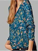 Women's Casual/Print V-Neck Long Sleeve Casual Shirts (Cotton)