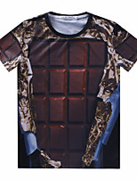 European Style TEE Digital Printing 3D T-shirt Chocolates Harajuku Sleeved T-shirt