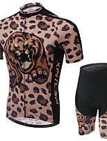WEST BIKING® Men's Mountain Bike Clothing Suit Breathable Brown Leopard Pattern Wicking Cycling Clothing Short Suit