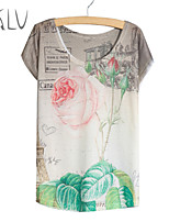 Women's Rose Print Casual Stretchy Short Sleeve Regular T-shirt (Polyester/Cotton Blends)