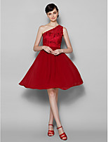 Knee-length Lace Bridesmaid Dress - Burgundy A-line One Shoulder
