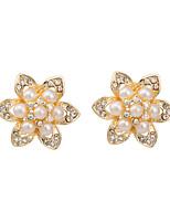 Women's Classic Elegant Flowers Pearl Stud Earrings HJ0075