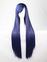 Cos Anime Bright Colored Wigs Dark Blue  Long  Straight  Hair Wig 80 cm