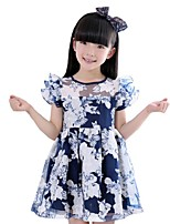 Baby Kids Girls Summer Petal Sleeve Flower Printed Party A-line Dresses (Cotton Blends)