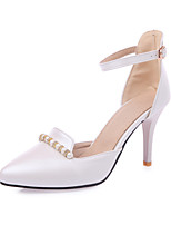 Women's Sandals Basic Pump Summer PU Wedding Dress Party & Evening Office & Career Rhinestone Stiletto Heel White Blue Blushing Pink