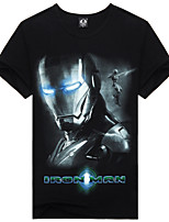 Men's 3D Iron Man Lycra Cotton T-Shirt  Fashion&Casual 3D Vivid Printing Short Sleeve Black  with O-Neck
