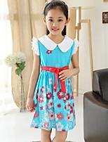 Girl's Pan Collar Summer Floral Sleeveless Dresses (Cotton Blends)