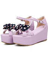 Girls' Shoes Casual Wedges/Open Toe Fabric/ Sandals Blue/Purple/Beige