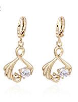 KuNiu Women's 18K Gold Plated Round Zircon Stone Earrings ER0219