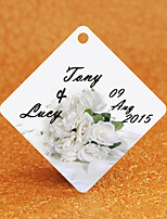 Personalized Rhombus Wedding Favor Tags - Bridal Bouquet Design (Set of 36)