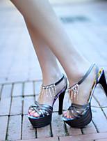 Zapatos de mujer Piel Sintética Tacón Stiletto Tacones/Punta Abierta Sandalias Vestido Gris/Oro