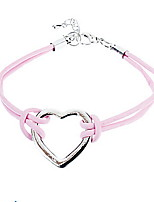 Heart-Shaped Pink Leather Bracelet