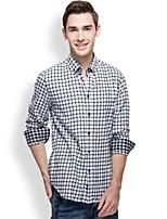 JAMES Autumn & Winter Men's Sanded Cotton Flannel Long Sleeve Shirt with Casual Business Black-White Plaids & Checks
