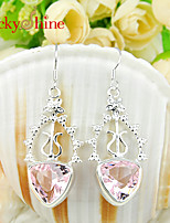 Triangle Shaped Fire Pink Toopaz Gem Earring Drop Earrings For Wedding Party Daily Casual 1pair