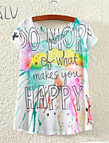 Women's Happy Watercolor Print Casual Stretchy Short Sleeve Regular T-shirt (Polyester)