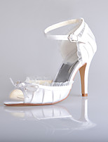 Women's Shoes Silk Stiletto Heel Heels/Peep Toe Sandals Wedding/Party & Evening White/Beige