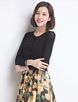 YINGYIYANG® Women's Korean Solid Color Sunscreen Openwork Round Collar Long Sleeve Cardigan Knitwear