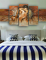 100% Hand-painted Nude Body Made Lovers Romantic Love Story Abstract Oil Painting on Canvas 5pcs/set No Frame