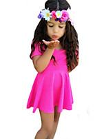 Girl's Fashionable Dress All Seasons Inelastic Medium Short Sleeve Dresses (Cotton)