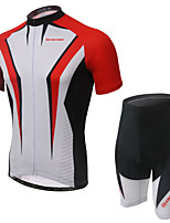 Men's Short Sleeve Summer Cycling Suits Shorts Bib Shorts Breathable Moisture Permeability Back Pocket Reflective Strips