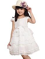 Kids Girl's Summer Solid Color Princess Wedding Party Lace Cake Dresses (Cotton Blends)