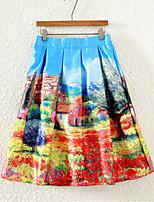De las mujeres Faldas - Sobre la rodilla Casual Microelástico - Satén