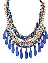 Women's European Style Ethnic Fashion Drop Acrylic Necklace With Rhinestone