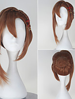 Seraph of the End Hanayori Sayuri Girl's Short Straight Yellow Color Braid Anime Cosplay Wig with Red Hairpin