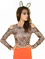 Women's Leopard Animal Print T-shirt , Round Neck Long Sleeve