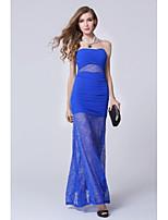 Vestido - Azul Real Festa Formal Tubo/Coluna Sem Alça Longo Renda