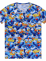European Style TEE Digital Printing 3D T-shirt Wrinkled Blue Donald Duck Harajuku Sleeved T-shirt