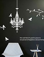 Wall Stickers Wall Decals, Modern The chandelier crystal lamp branch bird PVC Wall Stickers