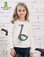 KAMIWA®Girl's Spring/Fall Cygnet White/Rust Red Long Sleeve Pullover T Shirts/Tees Kids Clothing(Cotton)