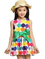 Girl's Summer Sleeveless Doll Collar Bow Belt Printing Polka Dot Sundresses (Cotton Blends)
