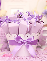 Ribbon Flower Pots Shape Wedding Candy Box (Set Of 10)