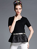 Europe and the large size women summer new loose T-shirt Eugen A stitching yarn black short sleeved T-shirt jacket