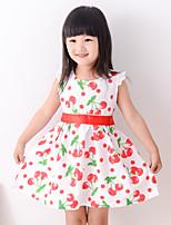 Girl's Summer Simple Fruit Printing Sleeveless Dresses (Cotton Blends)
