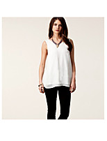 Han&Chloe®Women's Sleeveless Chiffon V-Neck T-Shirt