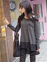 Women's Casual Micro-elastic Long Sleeve Long Blouse (Chiffon/Cotton)
