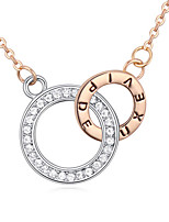 Women's European Style Boutique Two Circles Alloy Necklace With Rhinestone
