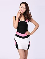 Women Cocktail Evening Party Dress Sheath/Column Jewel Short/Mini Nylon Taffeta Celeb Bandage Dress