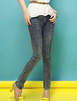 Long Xi quality of women's Korean slim slim grey washed denim pants feet pants pants