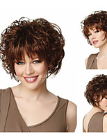 Bob hair cuts Fashion Synthetic wigs Short Wavy Brown Wigs with bangs Full Natural wigs for women