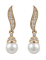 T&C Women's Vintage S-style Simulated Pearl Waterdrop Earrings 18K Rose Gold Plated Crystal Bridal Jewelry