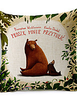 Cartoon Bear Mother Patterned Cotton/Linen Decorative Pillow Cover
