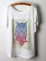 Summer Fashion Women's Owl Printing Short Sleeve Regular T-shirt (Cotton Blends)