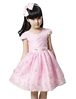 Kids Girl's Ball Gown Embroidered Princess Party Dresses (Cotton Blends)